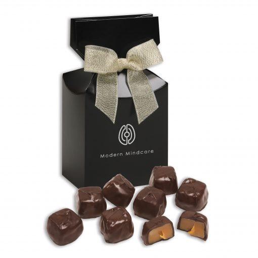 Barrel-Aged Bourbon Caramels in Black Gift Box