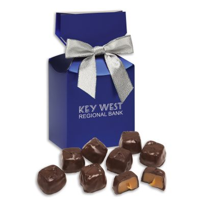 Barrel-Aged Bourbon Caramels in Blue Gift Box