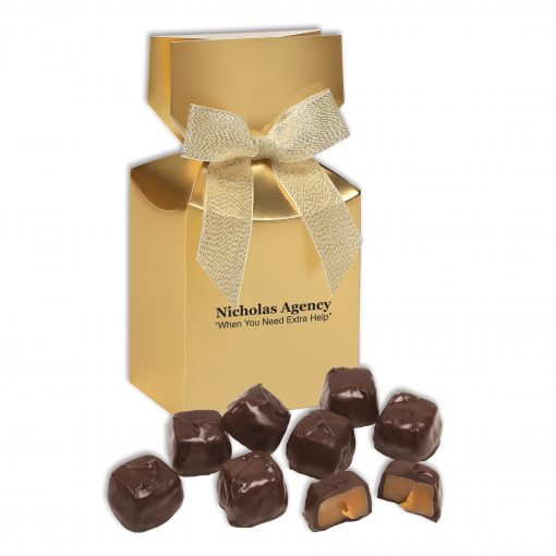 Barrel-Aged Bourbon Caramels in Gold Gift Box