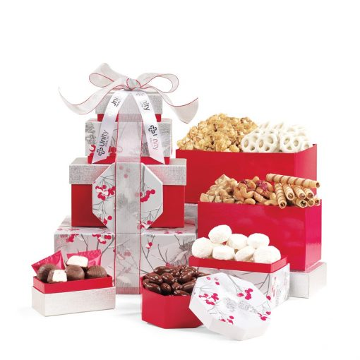 Celebrate the Season Gourmet Sweets & Treats Tower - Red-Silver