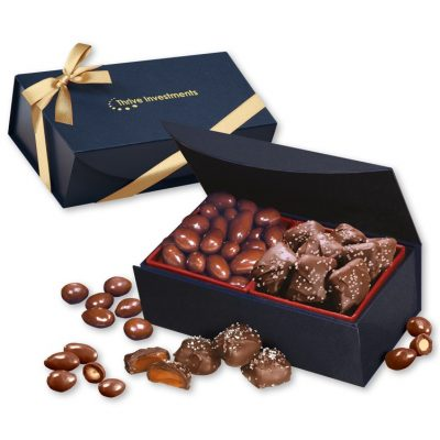 Chocolate Almonds & Sea Salt Caramels in Navy Magnetic Box