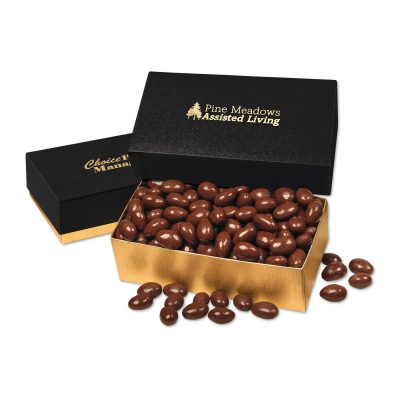 Chocolate Covered Almonds in Black & Gold Gift Box