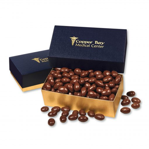 Chocolate Covered Almonds in Navy & Gold Gift Box