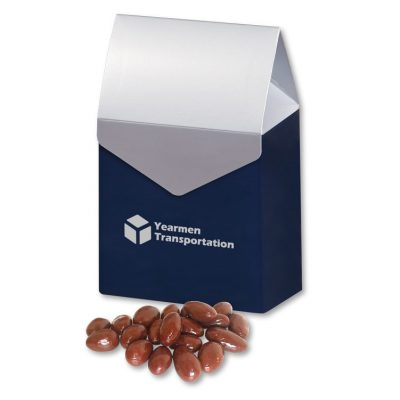 Chocolate Covered Almonds in Navy & Silver Gift Box