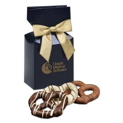 Chocolate Covered Pretzels in Navy Gift Box