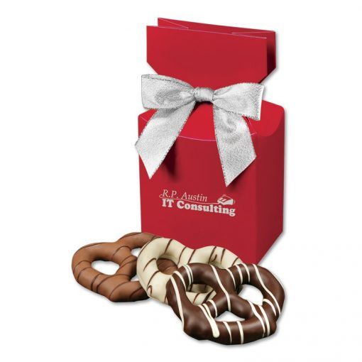 Chocolate Covered Pretzels in Red Premium Delights Gift Box