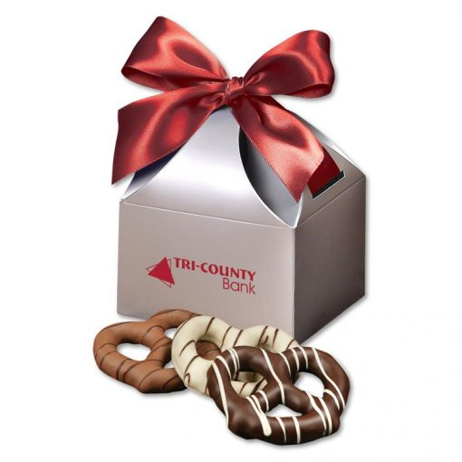 Chocolate Dipped Pretzels in Silver Gift Box