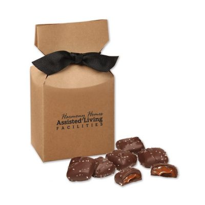 Chocolate Sea Salt Caramels in Kraft Gift Box