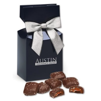 Chocolate Sea Salt Caramels in Navy Gift Box