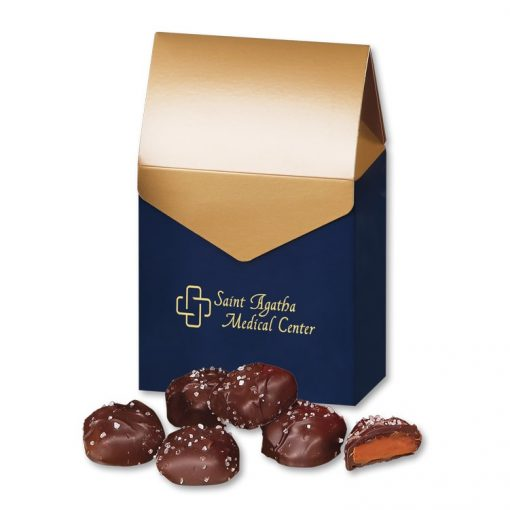 Chocolate Sea Salt Caramels in Navy & Gold Gift Box