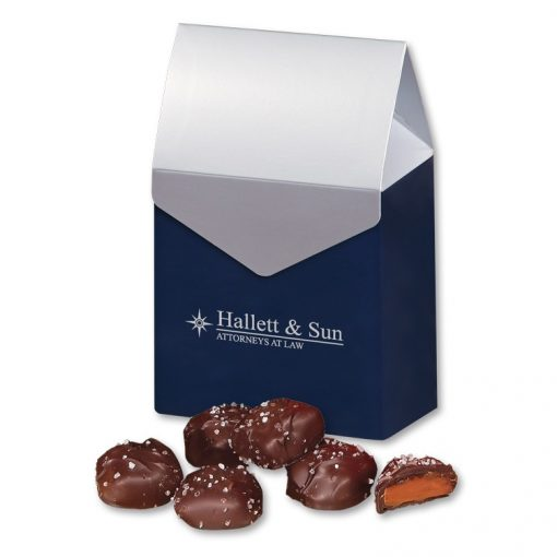 Chocolate Sea Salt Caramels in Navy & Silver Gift Box