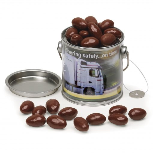 Clear Miniature Paint Bucket with Chocolate Covered Almonds