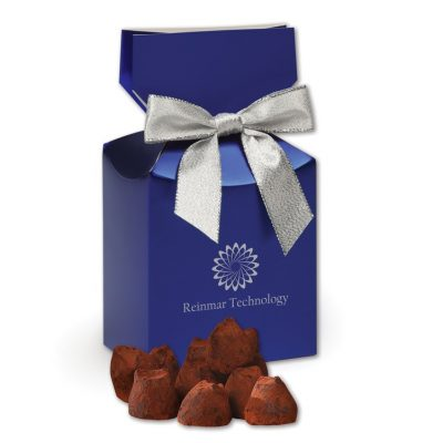 Cocoa Dusted Truffles in Metallic Blue Gift Box