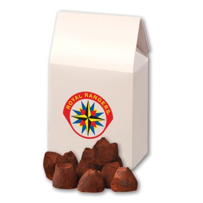 Cocoa Dusted Truffles in White Gable Box