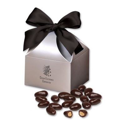 Dark Chocolate Covered Almonds in Silver Gift Box