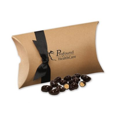 Dark Chocolate Sea Salt Cashews in Kraft Pillow Pack Box