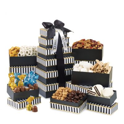 Elegant Gourmet Sweet & Savory Tower Black-White