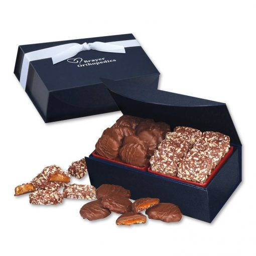 English Butter Toffee & Pecan Turtles in Navy Magnetic Closure Box