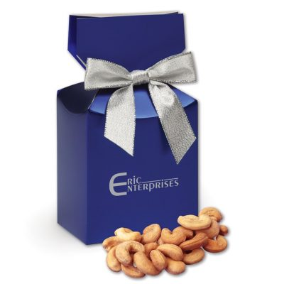 Extra Fancy Jumbo Cashews in Metallic Blue Gift Box