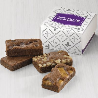 Fairytale Brownie 4-Sprite Favor in White/ Purple Box