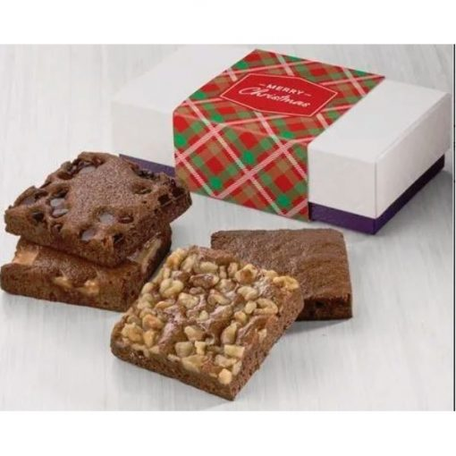 Fairytale Christmas 4-Brownie Favor in White/ Purple Box