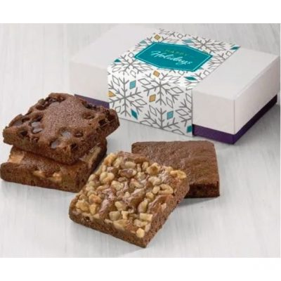 Fairytale Holiday 4-Brownie Favor in White/ Purple Box
