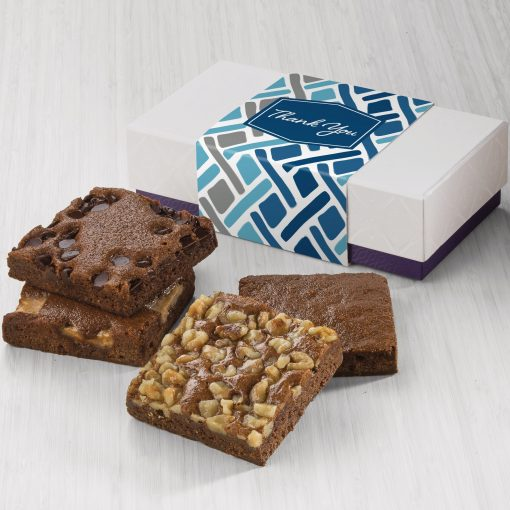 Fairytale Thank You 4-Brownie Favor in White/ Purple Box