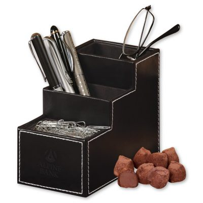 Faux Leather Desk Organizer with Cocoa Dusted Truffles