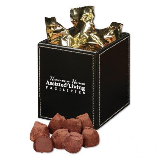 Faux Leather Pen & Pencil Cup with Cocoa Dusted Truffles
