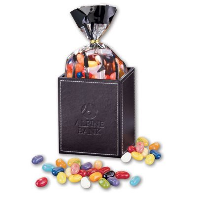 Faux Leather Pen & Pencil Cup with Jelly Belly Jelly Beans