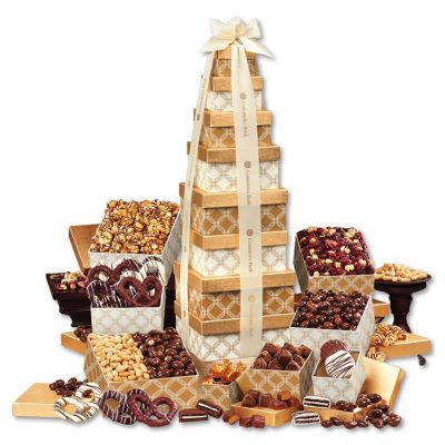 Golden Delights Giant Party Tower with Ivory Ribbon