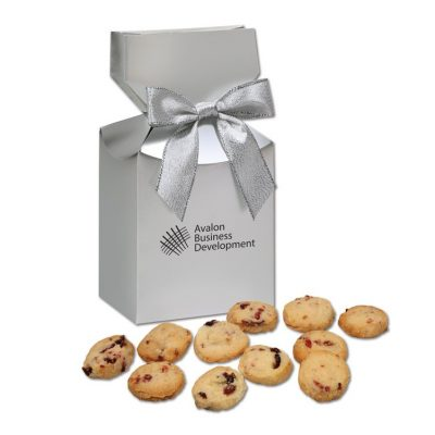 Gourmet Bite-Sized Cranberry Shortbread Cookies in Silver Gift Box