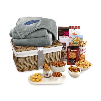Gourmet Delights Basket with Serenity Throw Grey-Natural