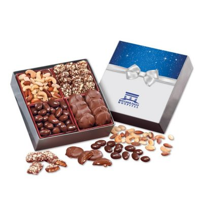 Gourmet Holiday Gift Box with Bow Sleeve