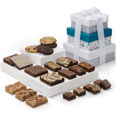Holiday 3-Box Tower w/ Brownies & Cookies (Snowflake Box)