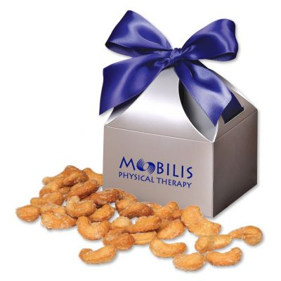 Honey Roasted Cashews in Silver Gift Box