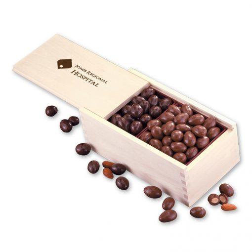Milk & Dark Chocolate Covered Almonds in Wooden Collector's Box