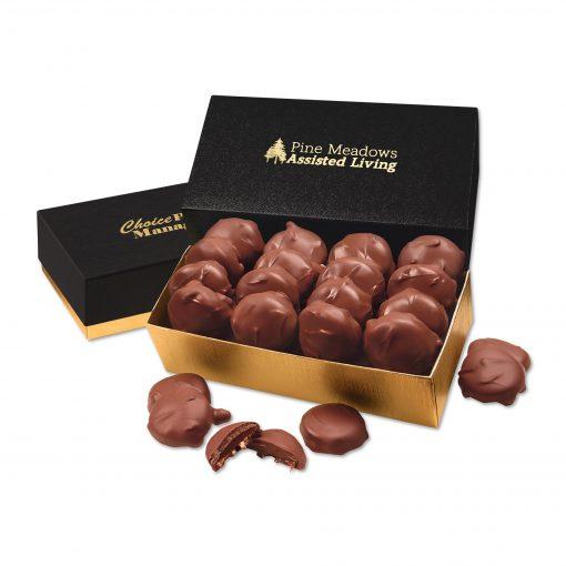 Pecan Turtles in Black & Gold Gift Box