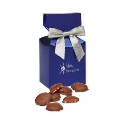 Pecan Turtles in Metallic Blue Gift Box