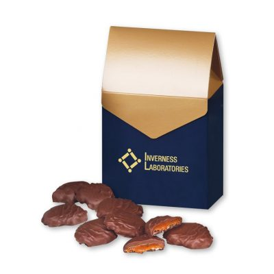 Pecan Turtles in Navy & Gold Gift Box