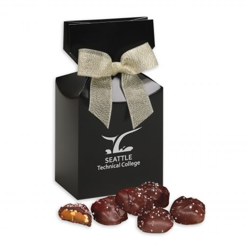 Sea Salt Almond Turtles in Black Premium Delights Gift Box