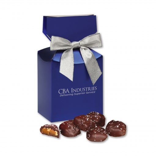 Sea Salt Almond Turtles in Blue Premium Delights Gift Box