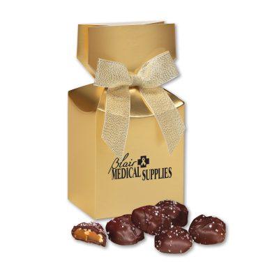 Sea Salt Almond Turtles in Gold Premium Delights Gift Box