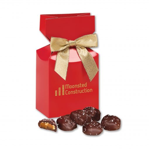Sea Salt Almond Turtles in Red Premium Delights Gift Box