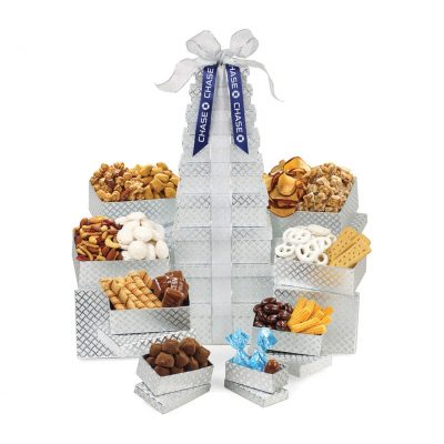 Shimmering Office Party Treats Gourmet Tower Silver