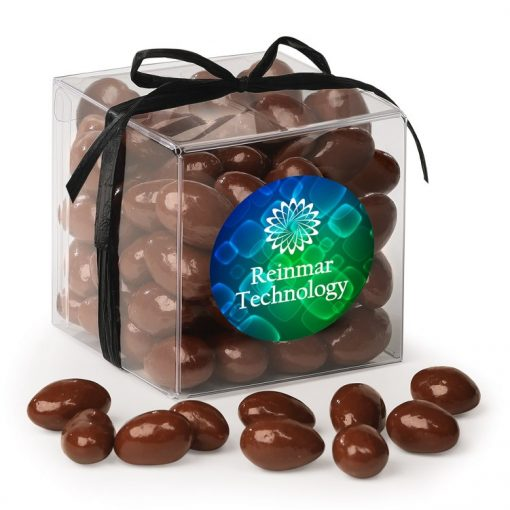 Stylish Acetate Cube with Chocolate Covered Almonds