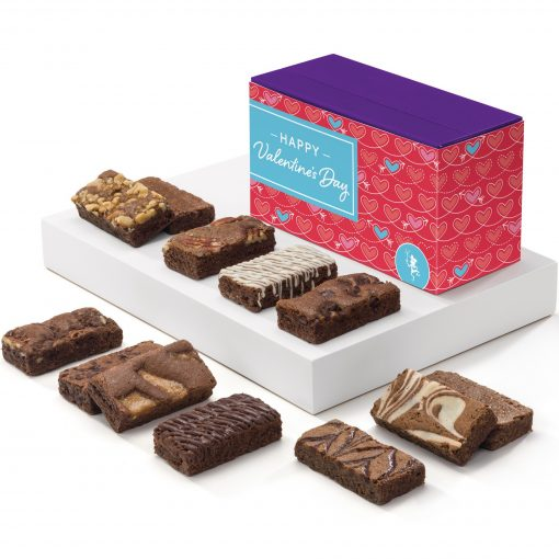 Valentine Sprite Dozen Brownies in Purple Box w/ Happy Valentine's Day Band