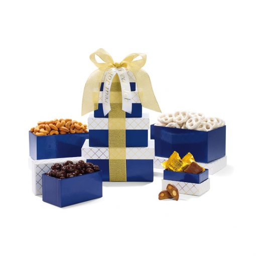 Classic Gourmet Treats Tower - Navy White and Gold