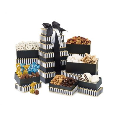 Elegant Gourmet Sweet & Savory Tower - Black and White Stripe