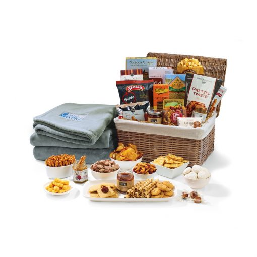 Gourmet Delights Basket with Serenity Throw - Natural-Grey